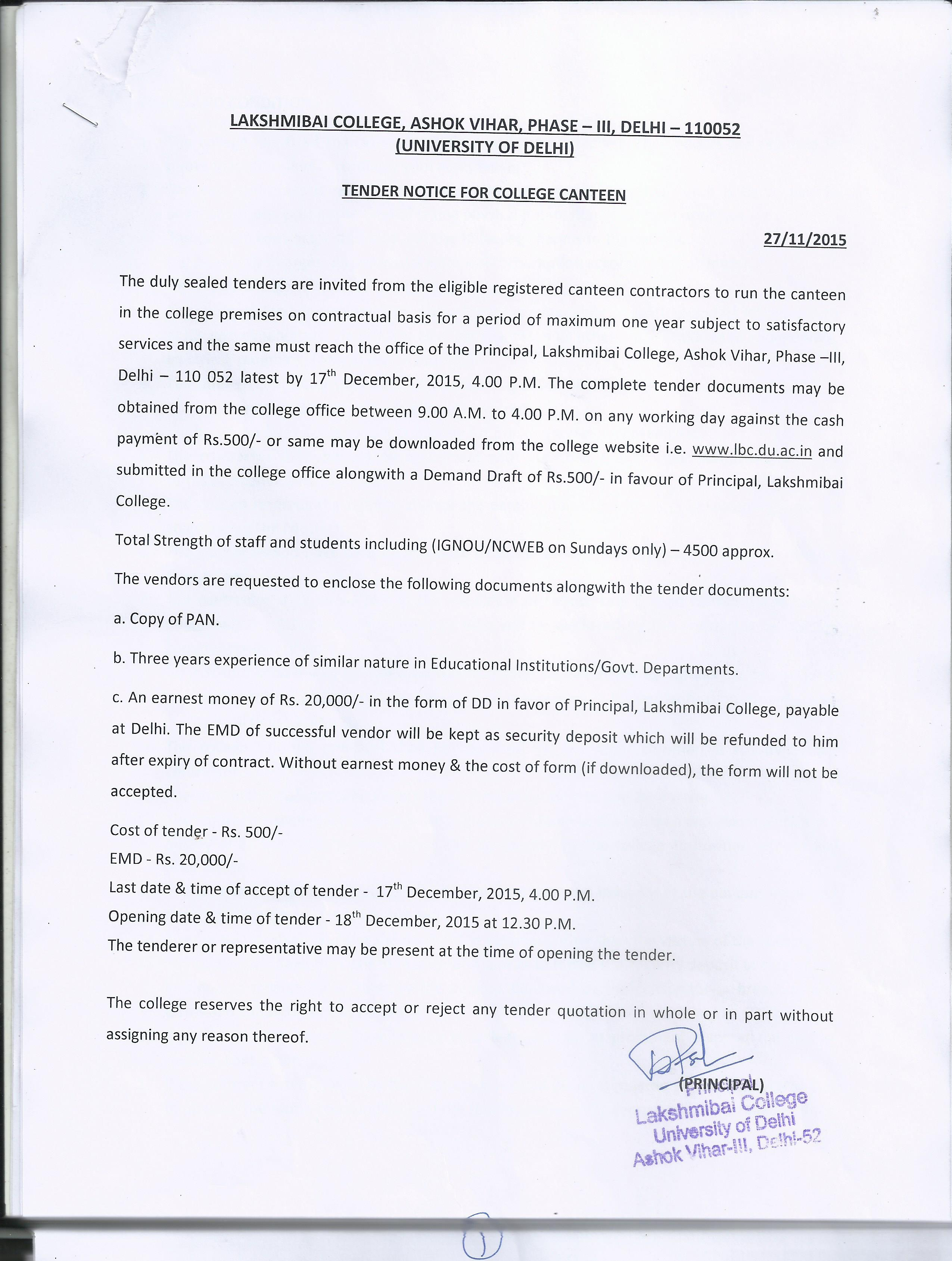 quotation college canteen Tender/quotation description: date of publish: last date of submission: downloads: tender for canteen services:  tender for printing of college prospectus for.